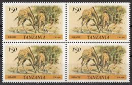 Tanzania 1980 Sc. 168 Mammiferi Giraffe Nuovo Quaterna MNH - Tanzania (1964-...)