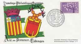 ENVELOPPE JUMELAGE PHILATELIQUE AIX EN PROVENCE TUBINGEN 1962 EUROPAISCHER FREUNDSCHAFT - FDC