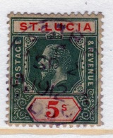 St Lucia George V Five Shilling Stamp From 1912.  This Stamp Is In Fine Used Condition And Is Catalogue Number 88. - St.Lucia (...-1978)