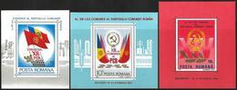 Romania 1979 1984 1989 Scott 2025 3229 3593B MNH Sheets Communist Party Congresses - 1948-.... Républiques