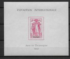 EXPO 1937 - SOUDAN - BLOC YT N° 1 ** - SANS CHARNIERE - COTE = 12.4 EUR - 1937 Exposition Internationale De Paris
