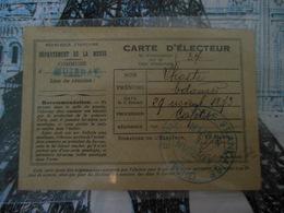 CARTE D' ELECTEUR 1928  -   MUZERAY  -  MEUSE  -  VOIR RECTO VERSO - Historical Documents