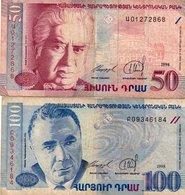 ARMENIA 50,100 DRAM 1998  P-41,42- CIRCOLATA - Armenia
