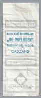 Suikerwikkel.- Embalage De Sucre. CADZAND. Hotel Café Restaurant - DE WILINGEN -. Telefoon 292. Het Witte Hart. - Sugars
