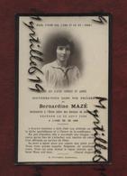 Faire-part De Décès - Institutrice Ecole Libre Des Garçons - Landivisiau - 1926 - Memento Bernardine Mazé - Obituary Notices
