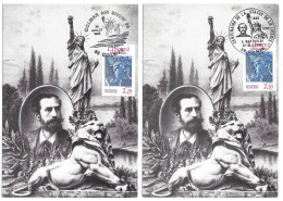 "LucFrance  1987 - Carte Maximum  Du 2421 -  STATUE DE LA LIBERTE "" - Liberty Statue - 2 Oblitérations Différentes - Maximumkarten"