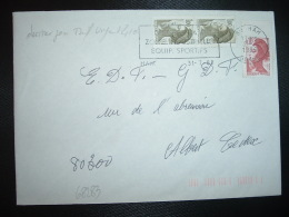 LETTRE TP LIBERTE DE GANDON 1,00 Paire + 0,10 OBL.MEC.31-7-1985 80 HAM SOMME DERNIER JOUR TARIF à 2,10 F - 1982-90 Liberty Of Gandon
