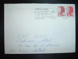 LETTRE TP LIBERTE 2,10 ROUGE + 0,10 OBL.MEC.1-8 1985 80 DOULLENS SOMME 1ER JOUR TARIF URGENT 2,20 F - 1982-90 Liberty Of Gandon