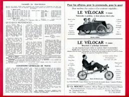Flyers 21 Cm X 13,5 Cm (Réf C200) (VIEUX PAPIERS) PUBLICITÉ - LE VÉLOCAR - Publicités