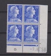 Coin Daté / N 1011 B / 20 Francs Bleu / 7-8-1958 / NEUF Avec Défaut De Gomme - Coins Datés