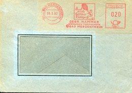 32863g  Germany,red Meter/freistempel/ema/1962 Bad Mergentheim Hammer Tennis Racket,tennisschlager - Tennis