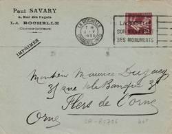 La Rochelle - Flamme De 1930 - Postmark Collection (Covers)