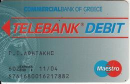 GREECE - Commercial Bank Debit Card(black Letters, Schlumberger-Solaic), 03/99, Used - Cartes De Crédit (expiration Min. 10 Ans)