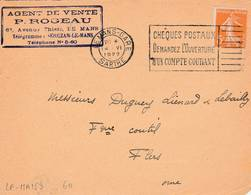 Le Mans  - Flamme De 1922 - Postmark Collection (Covers)