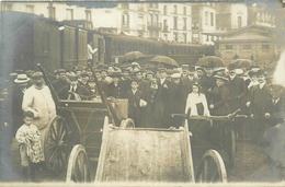 76-Dieppe Carte Photo : Gare Maritime Avec Trains, Voyageurs, Charettes - Dieppe