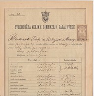BOSNIEN  --   VELIKA GIMNAZIJA SARAJEVO  --   SVJEDODZBA, SCHOOL REPORTS  --   1897   /   WITH TAX STAMP 10 NOVCICA - Diplome Und Schulzeugnisse