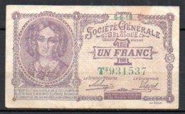 579-Belgique Société Générale Billet De 1 Franc 1918 T3 - Autres