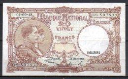 579-Belgique Billet De 20 Francs 1948 O01 - [ 2] 1831-... : Royaume De Belgique