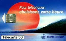 Télécarte 50 : France Telecom Pour Téléphoner Choisissez Votre Heure (1994 Puce Sur Fond Blanc) - Opérateurs Télécom