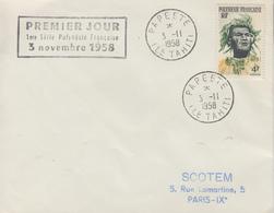 Enveloppe  FDC   1er  Jour   POLYNESIE   Indigéne    1958 - FDC