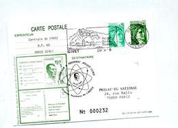 Carte Postale 1.4 Sabine Flamme Givet Vestige + Cachet Centrale Chooz Hommage Curie - Biglietto Postale
