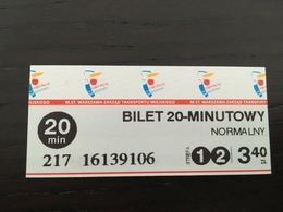 Ticket De Métro Varsovie (Pologne) - Europa