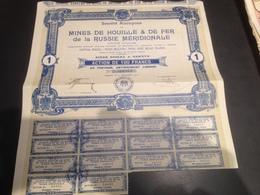 Action Mines De Houille Et De Fer De La Russie Méridionale 1907 - Mines