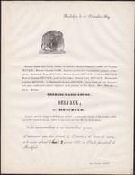 ROCHEFORT Thérèse DELVAUX Née MONCHEUR 61 Ans 1859 Famille FABRI Faire-part Mortruaire Imprimerie HOUBA - Avvisi Di Necrologio