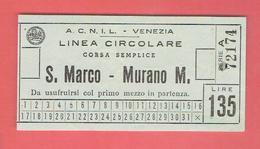 BILLET ITALIE LINEA CIRCOLARE CORSA SEMPLICE SAN MARCO MURANO VENISE - Boat