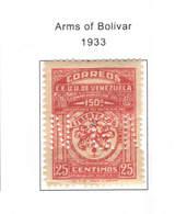 Venezuela PO 1933 Arms Bolivar  Scott.306+  See Scan On Scott. Page - Venezuela