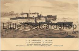 AK SM Torpedoboot G 108 - 113 S 90 - 107 Marinemaler Graf Marine Erinnerungs Karte - Guerre 1914-18