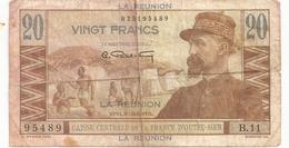 LA REUNION 20 F EMIL GENTIL  1947  SURCHARGE LA REUNION - Réunion