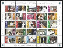 Poland - 2003 Pope John Paul / Jan Pawel II - 25th Anniversary Sheetlet - 25 Stamps MNH - Blocs & Hojas