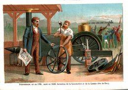 CHROMO  STENPHENSON NEEN 1781 MORT EN 1848 INVENTION DE LA LOCOMOTIVE ET LA LAMPE DITE DE DAVY - Chromos