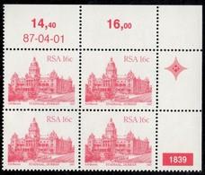 South Africa - 1987 Architecture Definitive 16c Control Block 1839 87.04.01 (**) # SG 521a - Blocs-feuillets
