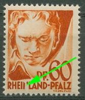 Franz. Zone: Rheinland-Pfalz 1947 Beethoven Plattenfehler 12 PF I Postfr. Mängel - Zona Francese