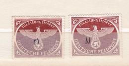 2 Timbres Zulassungsmarke Deutsche  Feldpost  :  Un Avec Gomme L'autre Sans : Pas De Charnière Ou Trace - Germany