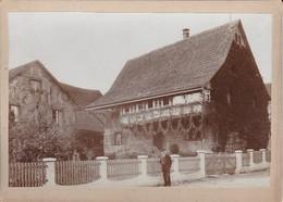Foto Alter Mann Vor Haus Mit Efeu - Park Mit Miniaturschlössern - Ca. 1900 - 18*12cm (34074) - Orte