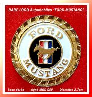 SUPER PIN'S LOGO FORD MUSTANG : Peu Courant, Support Base Or, Diamètre 2,7cm, Signé MOD DEP - Audi