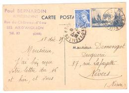 4524 LES AIX D ANGILLON Cher Entier 70c Defilé 11 Novembre 10c Mercure Yv 407 403-CP1 Ob 1939 Dest Nevers Demongeot - Entiers Postaux