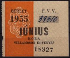 Tramway Tram BUDAPEST HUNGARY Ticket - Month Ticket - 1955 - Europe