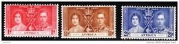 ANTIGUA 1937 Coronation Complete Set Of 3 Values Mint - 1858-1960 Crown Colony