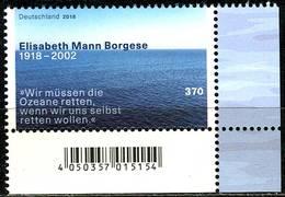 BRD - Mi 3375 ECKE REU - ** Postfrisch (H) - 370C         Elisabeth Mann Borgese - Ausgabe: 12.04.2018 - BRD