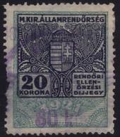 1922 Hungary - POLICE Tax - Revenue Stamp - 80 K / 20 K - Overprint - Used - PAPER DAMAGE - Revenue Stamps
