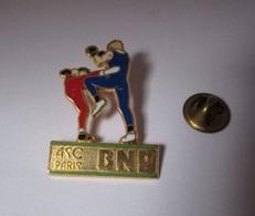 Pin's Banque / ASC BNP - Boxe (signé Ballard - Doré Or Fin) - Banks