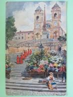 """Italia Around 1920 Postcard """"""""Roma - Trinita Del Monte"""""""" - Italy"""