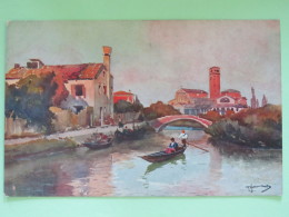 "Italia Around 1920 Postcard """"Torcello - Estuario Bridge Boat"""" - Italy"