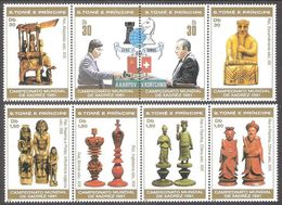Chess Schach Ajedrez Echecs World Championship 1981 Sao Tome MNH 8 Stamps Set Mi 703-720 CV 20,0 € - Schaken
