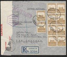 PALESTINE - USA 1941 REGISTERED JERUSALEM CENSOR COVER MULTIPLE FRANKING - Palestine
