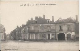 Carte Postale  Ancienne  De Baugé Rond Point Et Rue Camusière - France